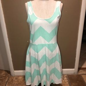 Mint and white women's chevron print dress